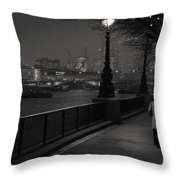 River Thames Embankment, London Throw Pillow