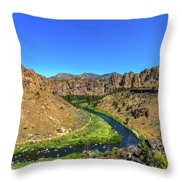 Throw Pillow featuring the photograph River Through Mountains by Jonny D