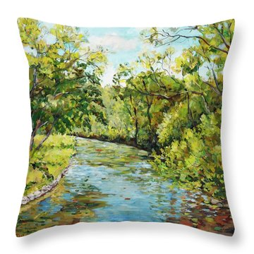 River Through The Forest Throw Pillow