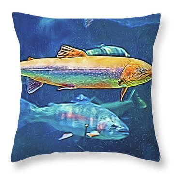 Throw Pillow featuring the digital art River Trout by Ray Shiu
