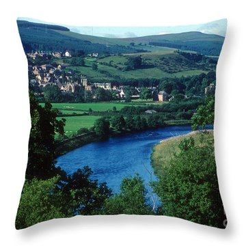 River Tweed And Melrose Throw Pillow