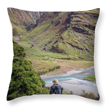 River Valley Overlook New Zealand Throw Pillow