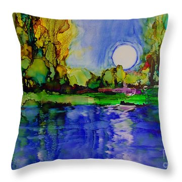 Throw Pillow featuring the painting River Walk by Priti Lathia