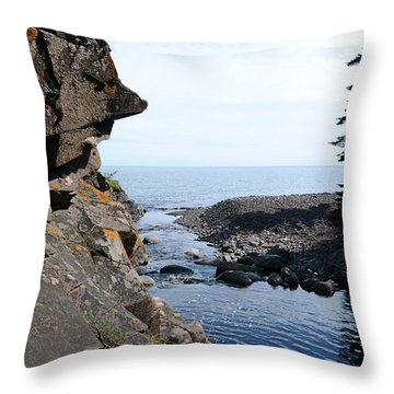 Throw Pillow featuring the photograph River Watcher by Sandra Updyke