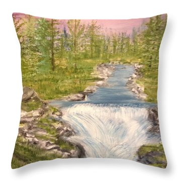 River With Falls Throw Pillow