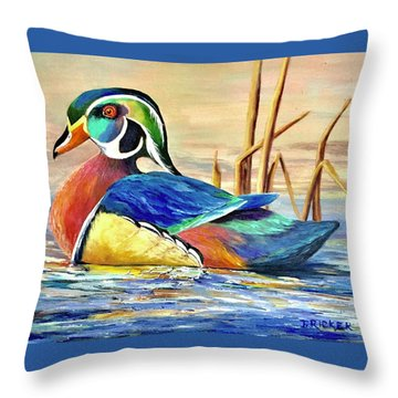 River Wood Duck Throw Pillow