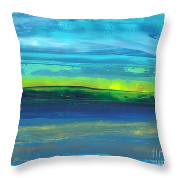 Riverbank Green Throw Pillow