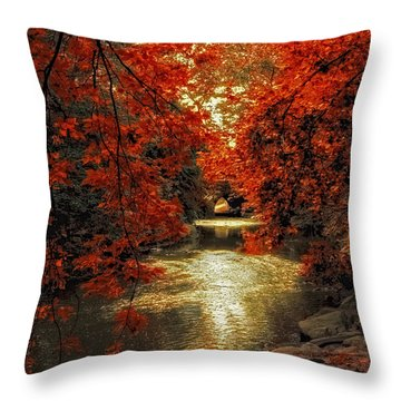 Riverbank Red Throw Pillow by Jessica Jenney
