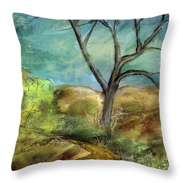 Throw Pillow featuring the painting Riverbed  by Annette Berglund