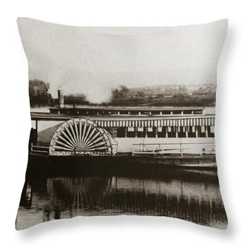Riverboat  Mayflower Of Plymouth   Susquehanna River Near Wilkes Barre Pennsylvania Late 1800s Throw Pillow