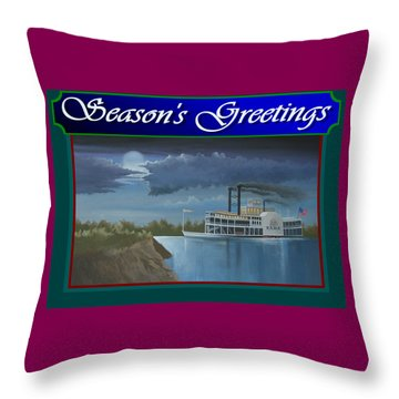 Throw Pillow featuring the painting Riverboat Season's Greetings by Stuart Swartz