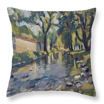 Riverjeker In The Maastricht City Park Throw Pillow