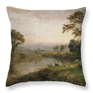 Riverscape In Early Autumn Throw Pillow