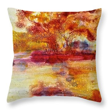 Riverscape In Red Throw Pillow