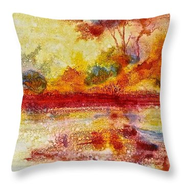 Riverscape In Red....part 2 Throw Pillow
