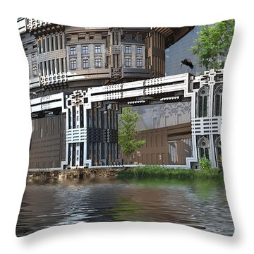 Riverside Apartments Throw Pillow by Hal Tenny