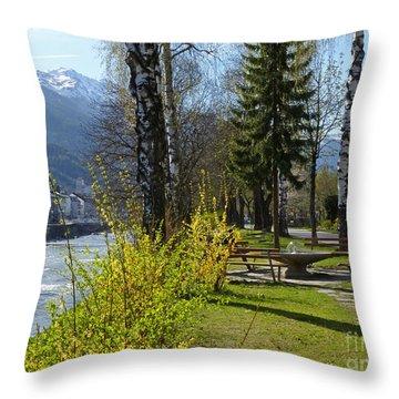 Riverside At Lienz  Throw Pillow