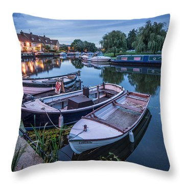 Riverside By Night Throw Pillow