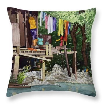 Riverside House And It's Laundry Throw Pillow