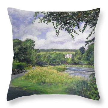 Riverside House And The Cauld Throw Pillow by Richard James Digance