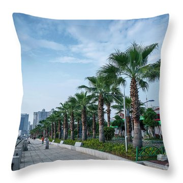 Riverside Promenade Park And Skyscrapers In Downtown Xiamen City Throw Pillow