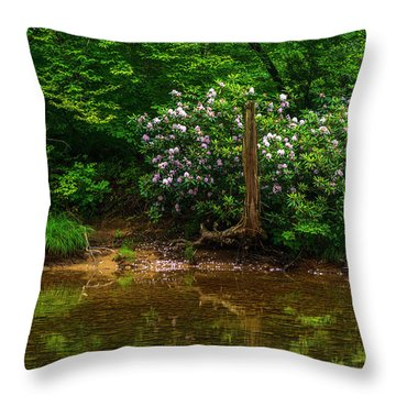Riverside Rhododendron Throw Pillow