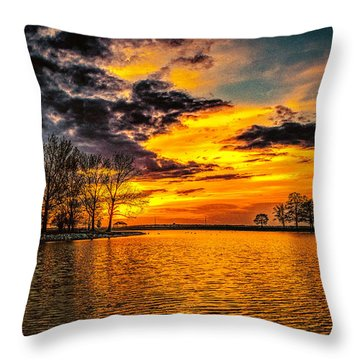 Throw Pillow featuring the photograph Riverview Beach Park Sunset by Nick Zelinsky