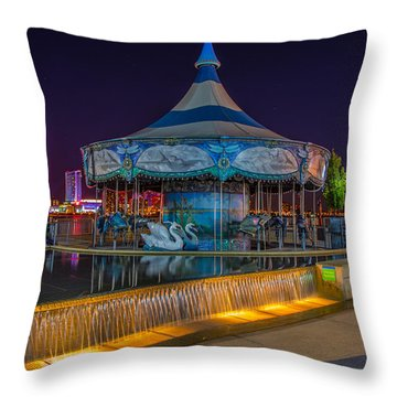 Riverwalk Carousel  Throw Pillow