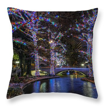 Throw Pillow featuring the photograph Riverwalk Christmas by Steven Sparks