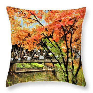 Throw Pillow featuring the painting Riverwalk Covered Bridge by Christopher Arndt