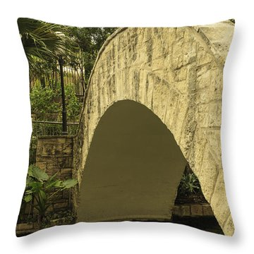 Riverwalk Footbridge Throw Pillow by Anne Witmer