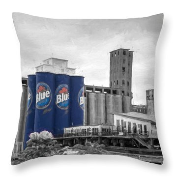 Riverworks Blue Throw Pillow
