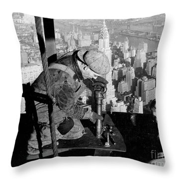 Riveters On The Empire State Building Throw Pillow by LW Hine