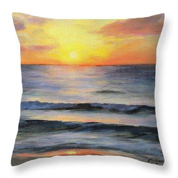 Riviera Sunrise Throw Pillow by Anna Rose Bain