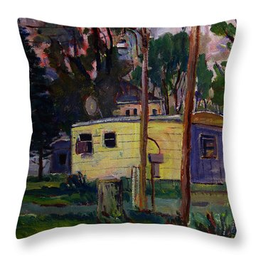 Throw Pillow featuring the painting Riviera Trailer Court by Charlie Spear