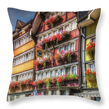 Throw Pillow featuring the photograph Row Of Swiss Houses by Hanny Heim