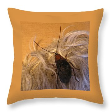 Roach Hair Clip Throw Pillow