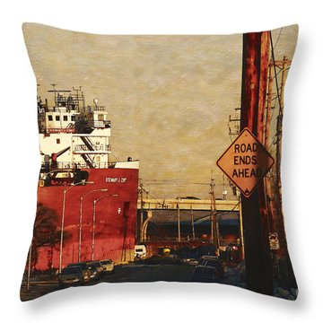 Throw Pillow featuring the digital art Road Ends Ahead by David Blank