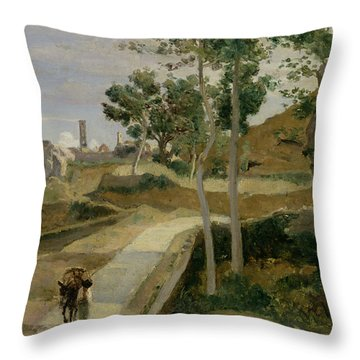 Road From Volterra Throw Pillow by Jean Baptiste Camille Corot