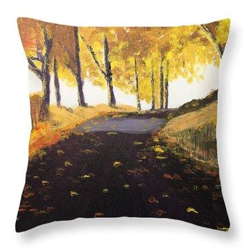 Road In Autumn Throw Pillow