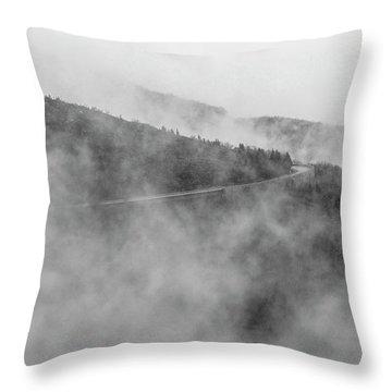 Road In Fog - Blue Ridge Parkway Throw Pillow