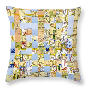 Throw Pillow featuring the mixed media Road Map by Jan Bickerton