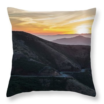 Road On The Edge Of The Mountain With Sunrise In The Background Throw Pillow