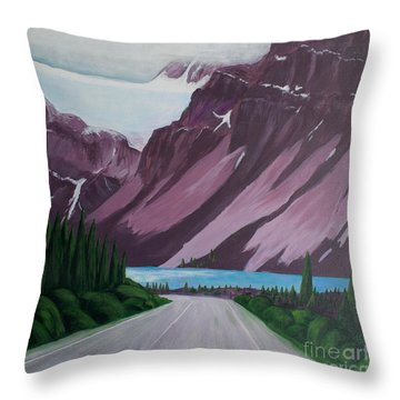 Road To Banff Throw Pillow
