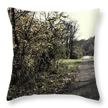 Road To Covered Bridge Throw Pillow
