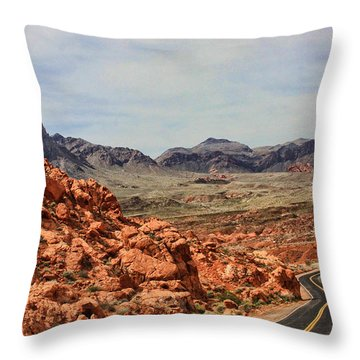 Throw Pillow featuring the photograph Road To Fire by Tammy Espino