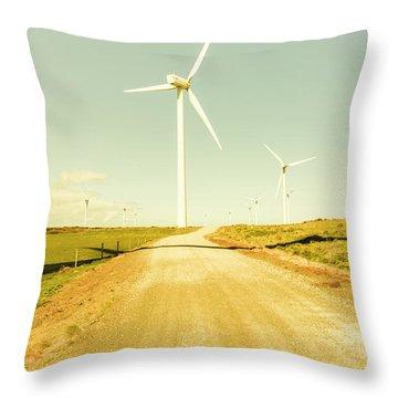Road To Green Farming Throw Pillow
