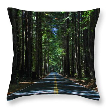 Road To Mendocino Throw Pillow