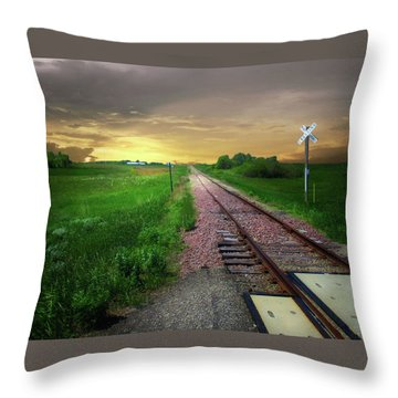 Road Track Crossing Throw Pillow