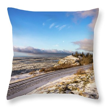 Road, Tracks, And Water Throw Pillow